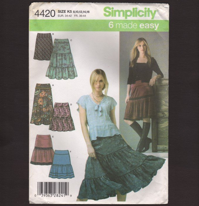 Misses Bias or Tiered Skirt Simplicity 4420 Sewing Pattern Size 8-16 Waist 24 25 26.5 28 30 2000s