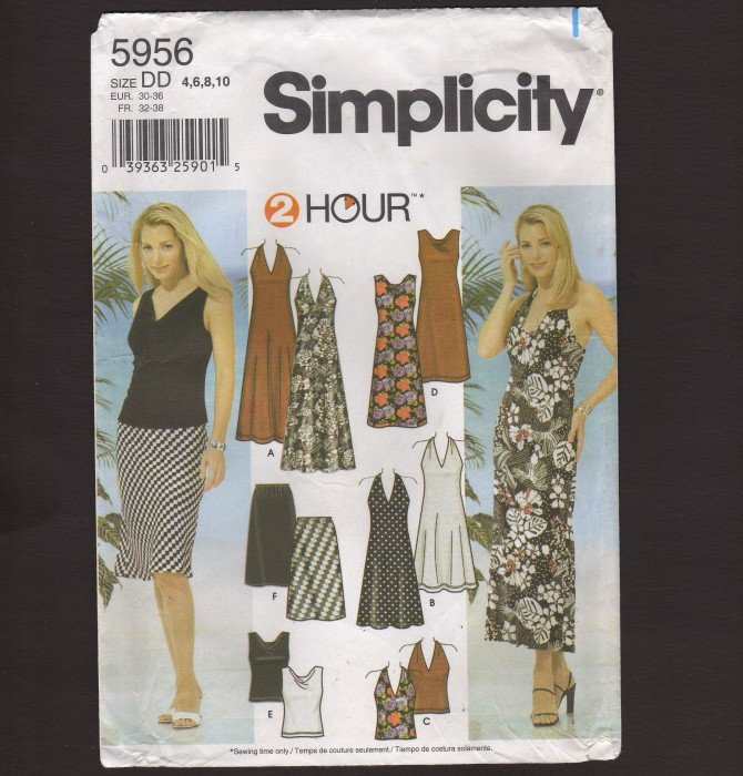 Simplicity 5956 Misses Halter or Drape Dress Top & Skirt 4-10 Pattern Bust 29.5 30.5 31.5 32.5 2000s