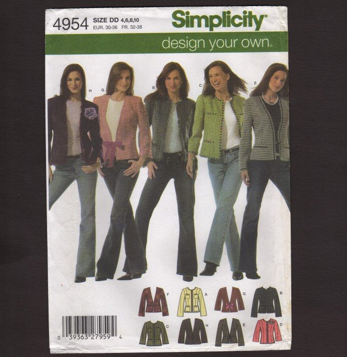 Simplicity 4954 Design Your Own Jacket Misses Sewing Pattern 4 � 10 Bust 29.5 30.5 31.5 32.5 2000s