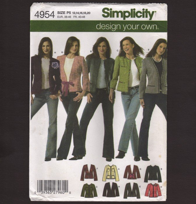 Simplicity 4954 Design Your Own Jacket Misses Sewing Pattern Size 12 - 20 Bust 34 36 38 40 42 2000s