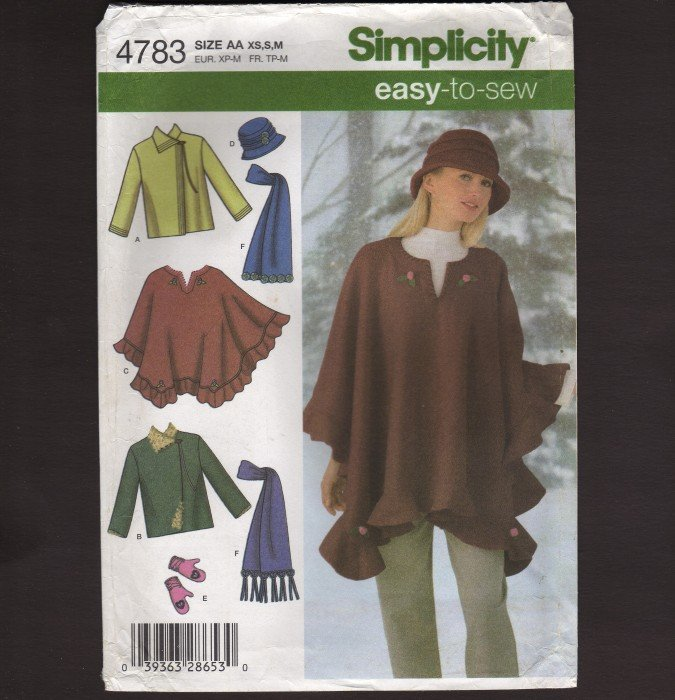 Simplicity 4783 Easy-to-Sew Sewing Pattern Misses Jacket Poncho Scarf Hat Mittens Size XS S M 2000s