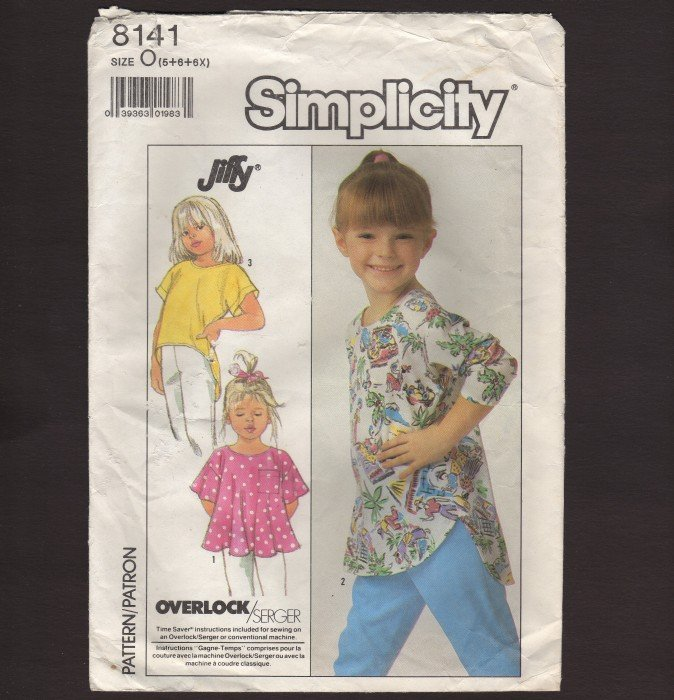 Simplicity 8141 Girl�s Pull-over Knit Tops Sewing Pattern Child Size 5 - 6X Chest 24 25 25.5 1980s