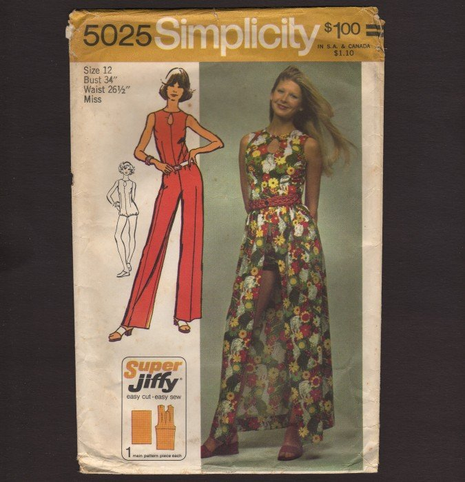 Vintage Jumpsuit and Wrap Skirt Simplicity 5025 Sewing Pattern Super Jiffy Size 12 Bust 34 1970s