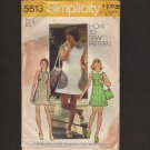 Vintage Misses Mini-Dress with matching bag Simplicity 5513 Sewing Pattern Size 12 Bust 34 1970s