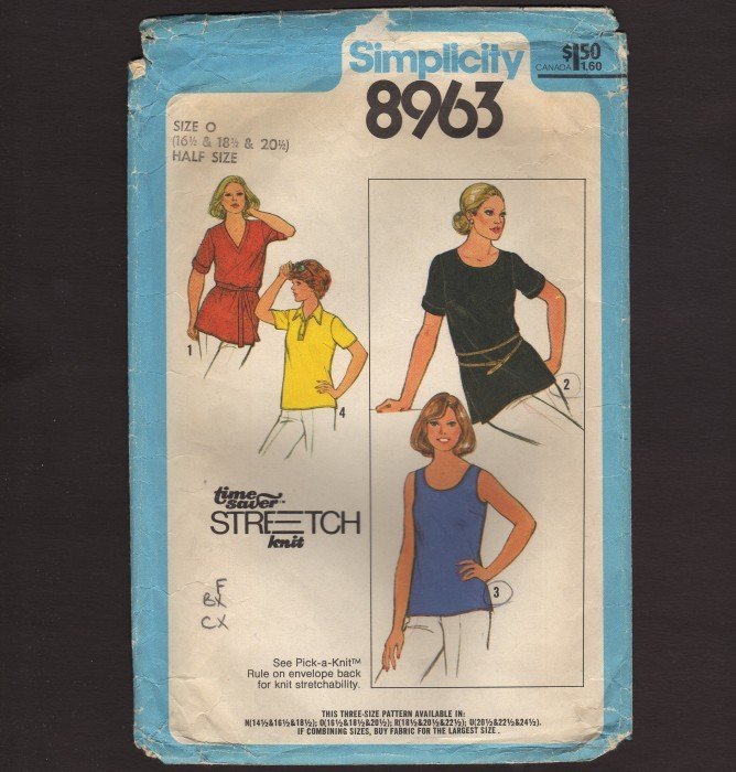Vintage Women�s Stretch Knit Simplicity 8963 Sewing Pattern Size 16½ � 20½ Bust 39 41 43 1970s