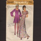 Vintage Misses Mini - Maxi Dress 2 style sleeves Simplicity 9446 Sewing Pattern Sz. 12 Bust 34 1970s