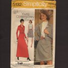 Vintage Dress 2 length with Unlined Jacket Sewing Pattern Simplicity 5132 Sz 12 Bust 34 1970s