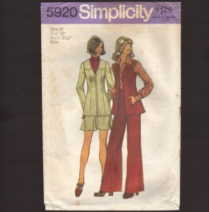 Vintage Jacket or Vest, Pants and Mini Skirt Misses' Simplicity 5920 Sewing Pattern Bust 34 1970s