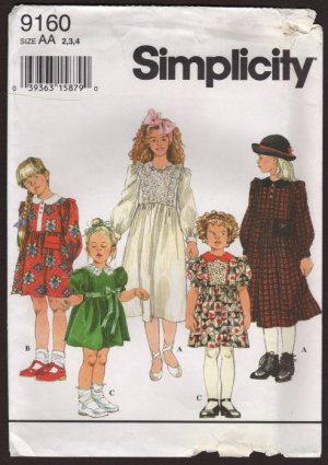 Simplicity 9160 Child's Dress with two sleeve lengths raised waist collar Size Child 2, 3, 4  1990s
