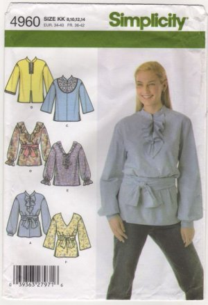 Simplicity 4960 Misses Tunic Tops Sewing Pattern 6 variations Size 8-14 Bust 31.5 32.5 34 36 2000s
