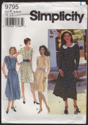 Simplicity 9795 Misses Dress Sewing Pattern stretch waist buttons Size 8-12 Bust 31.5 32.5 34 1990s