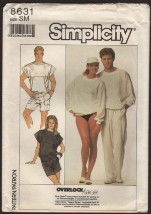 Simplicity 8631 Unisex Loose Fitting Top Shorts Pants Size Small Chest Bust 32 34 1980s