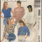 McCall's 3682 Misses Stretch Knit Tops Sewing Pattern Bust 30.5, 31.5, 32.5, 34 Size 6 - 12 1980s
