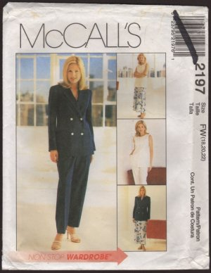 McCall's 2197 Misses Lined Jacket and Vest Pants and Bias Skirt Size 18 20 22 Bust 40 42 44 1990s