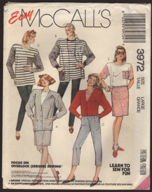 McCall's 3972 Misses Cardigan Top Skirt and Pants Sewing Pattern Size 18, 20 Bust 40, 42 1980s