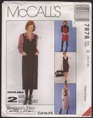 Misses Jumper and Blouse McCall's 7878 Sewing Pattern Size 12 14 16 Bust 34 36 38 1990s
