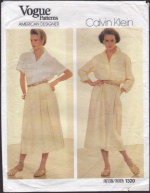 Vogue 1320 Sewing Pattern Dress Blouse Skirt Calvin Klein American Designer Original 1980s Bust 31.5