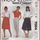 McCall's 7864 Sewing Pattern Misses Skirt, Pants, and Culottes 1980s Waist 24 25 26.5 OOP