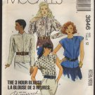 McCall's 3646 Misses 3 Hour Blouse Sewing Pattern Size 12 Bust 34 1980s