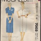 McCall's 7003 Evelyn de Jonge Shirt Dress Sewing Pattern Size 10 Bust 32.5 1980s