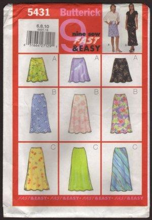 Easy Bias A-line Skirts 3 Lengths Butterick 5431 Sewing Pattern Sz 6 8 10  Waist 23 24 25 2000s