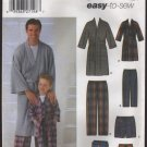 Men and Boys Robe Pants Slippers Simplicity 5329 Sewing Pattern Sz Men S-XL Boys S-L 2000s