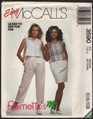 Misses' Drawstring Pants or Skirt with 2 tops McCall's 3590 Sewing Pattern Size Medium 1980s