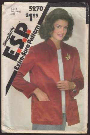 Misses' Boxy Unlined Jacket Simplicity 5270 Size 14 16 18 Sewing Pattern Bust 36 38 40 1980s
