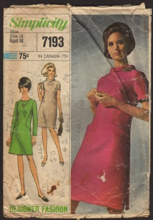 Vintage A-line Dress Simplicity 7193 Sewing Pattern Misses 16 Bust 36 1960s