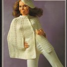 Crochet Cape and Beret plus Knitted Cape with Beret Brunswick 7207 1970s