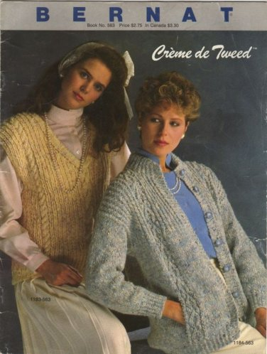 Bernat Crème de Tweed - Book No 563 Ladies Sweaters and Vest To Knit 4 styles