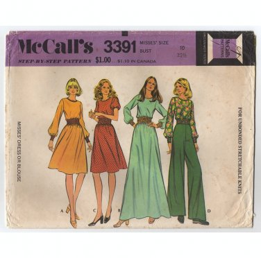 McCall's 3391 Misses Dress or Blouse Sewing Pattern for Stretchable Knits Size 10 Bust 32.5 1970s