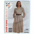McCall's 4390 Misses Shirtwaist Dress Sewing Pattern Size 10 12 14 Bust 32.5 34 36 1980s uncut