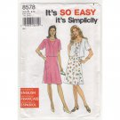 Misses Sleeveless Dress & Short Sleeve Jacket Simplicity 8578 Sewing Pattern Size 6-16 1990s