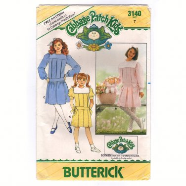 Butterick 3140 Girls Dress Sewing Pattern Size 7 Bust 26 Cabbage Patch Doll pattern 1985 uncut