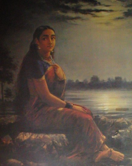 "Raja Ravi Varma  ""Lady in Moonlight"" Indian contemporary art"