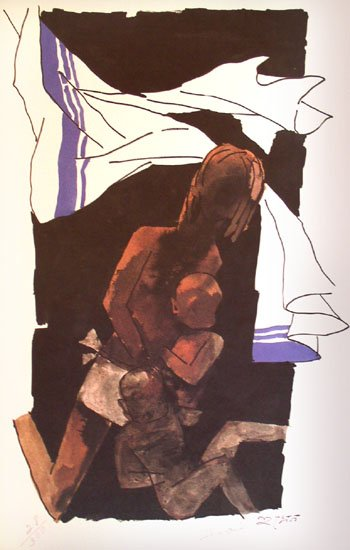 Mother Teresa by M.F. Husain Signed limited edition print Indian Contemporary art