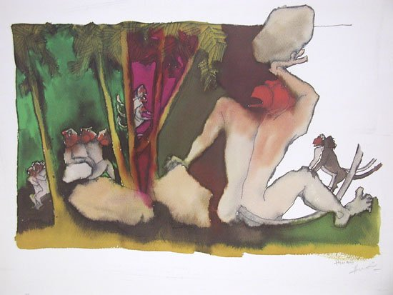 Hanuman by M.F.Husain Signed limited edition print Indian Contemporary art