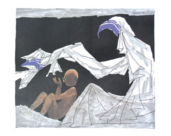 Mother Teresa by M.F.Husain Signed limited edition print Indian Contemporary art