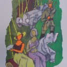 """Raj Party in the Kerala jungle""- Signed  Limited edition reproduction print by M.F.Husain"