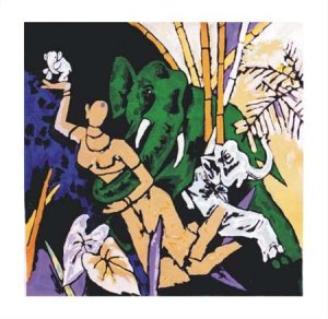 """""""Kerala 3"""" by M.F.Husain Signed limited edition Serigraph Indian Contemporary art"""