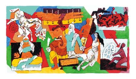 """Mahabharat"" by M.F.Husain Signed limited edition Serigraph Indian Contemporary art"