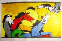 """""""Horses 3"""" by M.F.Husain Signed limited edition Serigraph Indian Contemporary art"""