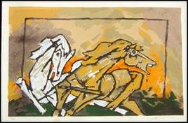 """Horses 4"" by M.F.Husain Signed limited edition Serigraph Indian Contemporary art"