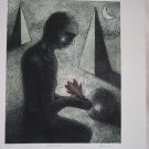 Man with Lotus by Yashpal Chandrakar-Signed limited edition Etching Indian Contemporary art