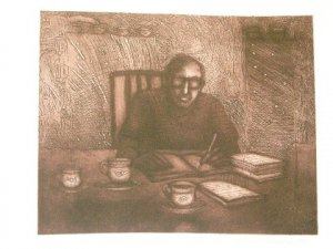 untitled by Sanjay Bhattacharya- Signed limited edition Etching Indian Contemporary art
