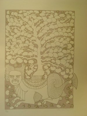 Tree by A. Ramachandran- Signed limited edition Serigraph Indian Contemporary art