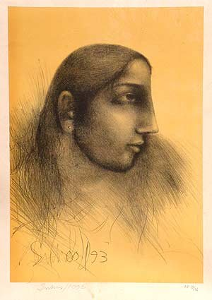 Untitled- Suhas Roy Signed limited edition Lithograph Indian Contemporary art