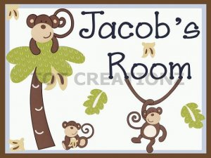 MONKEY TIME Personalized 8X10 Nursery Decor Art Print UNFRAMED UNMATTED