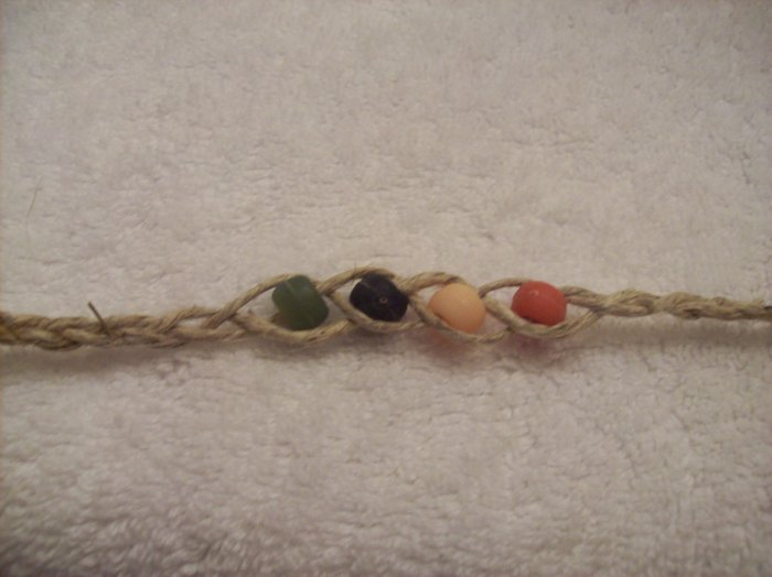 Wish bracelet (on tan, in vintage colors) - red, yellow, navy, green